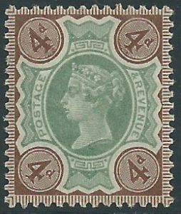SG205 4d Green & Brown 1887 Jubilee Issue MOUNTED Mint (Queen Victoria Surface Printed Stamps)